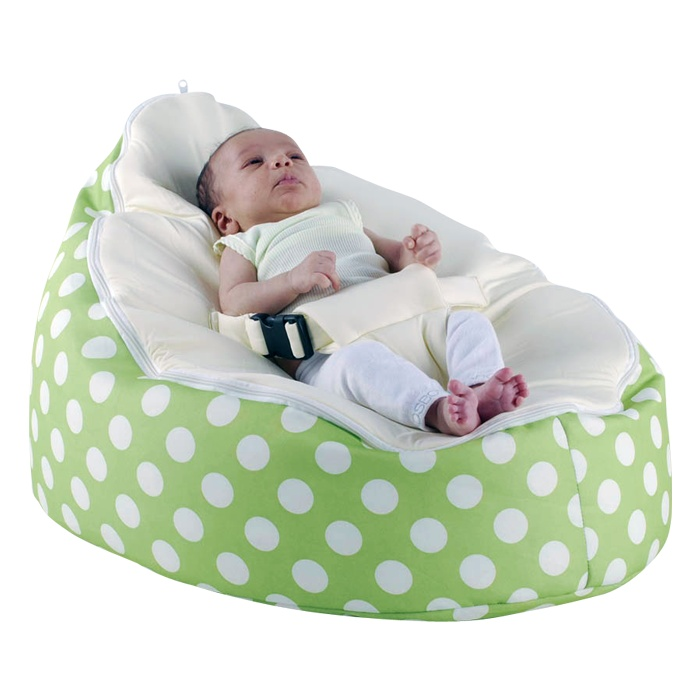 Green And Cream Polka Kids Baby Bean Bags Furniture For Your Child
