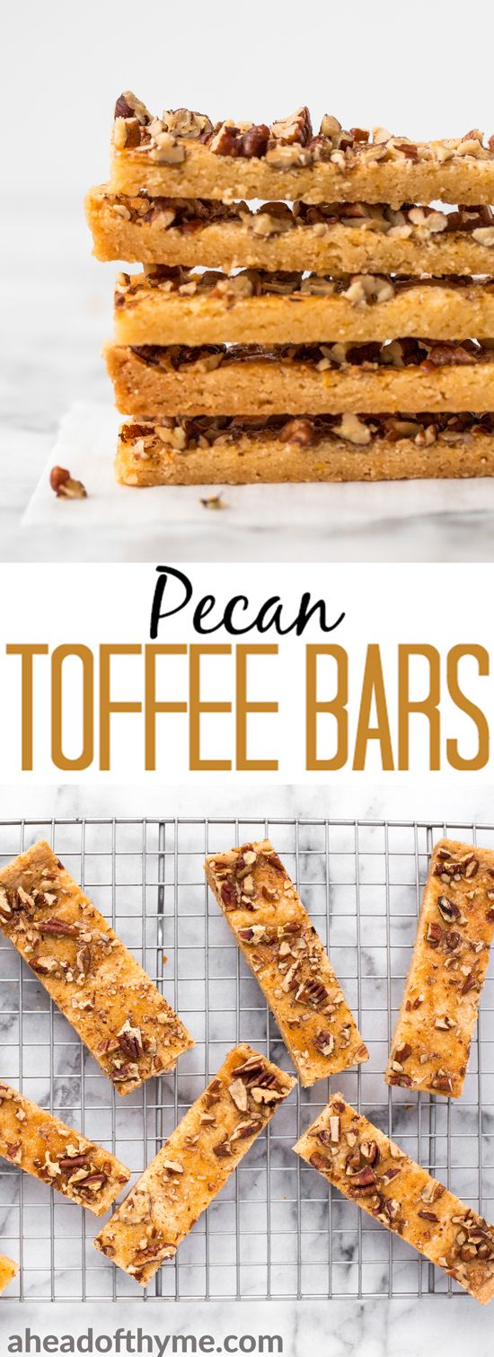 These pecan toffee bars combine the flavours of shortbread topped with crunchy nuts to create magic. Prepped in under 10 minutes with only 6 ingredients! | aheadofthyme.com #toffee  #bars #dessert #baking #pecan #snack via @aheadofthyme