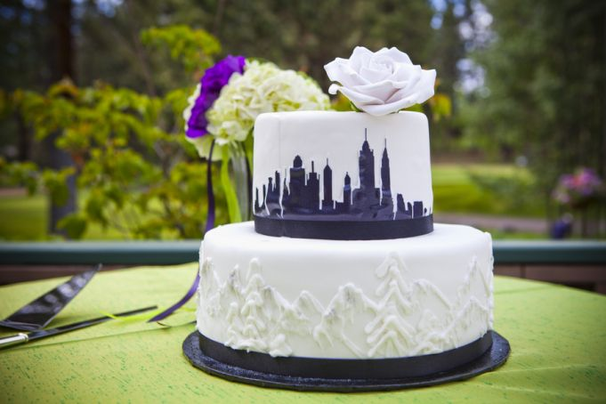 Summer Lake Tahoe Wedding Apple Dupioni Table Iinen's make the cake table pop! by Kendall Price Photography