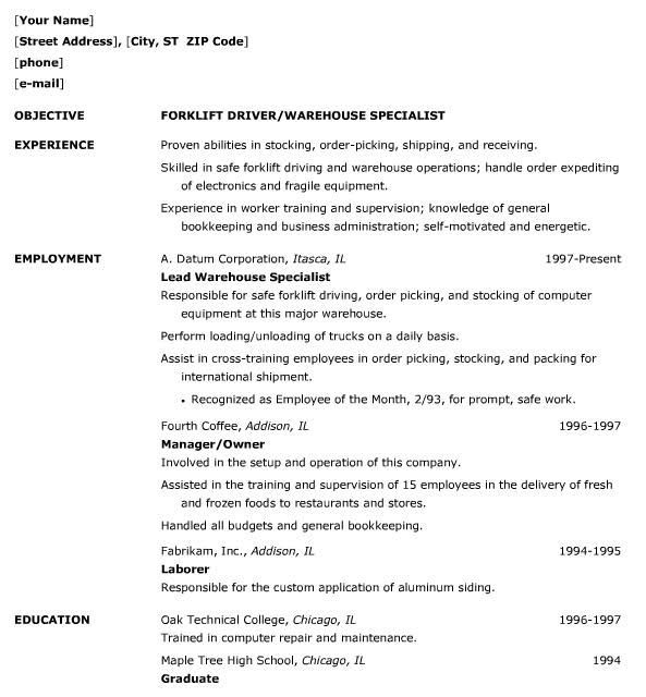 Warehouse Job Resume Sample