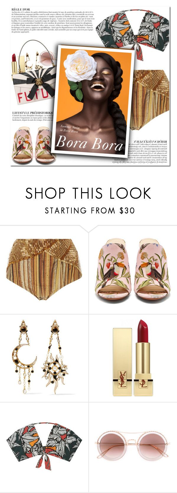 """""""How to Style Metallic Gold Bikini Bottoms with a Tropical Print Crop Top, Pink Mules and a Black and White Gucci Bag"""" by outfitsfortravel ❤ liked on Polyvore featuring Água de Coco, Aquazzura, Diego Percossi Papi, Yves Saint Laurent, Elie Saab, Anja and Gucci"""
