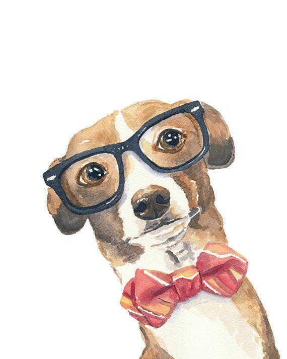 Dog Watercolour PRINT - Italian Greyhound, Nerd Glasses, 8x10 Painting Print via Etsy