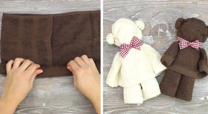 Deze teddyberen gemaakt van een simpele handdoek vormen een leuke touch voor in je badkamer. Er komt geen schaar aan te pas. Het enige dat je nodig hebt is een handdoekje (gastendoek formaat), een aantal…
