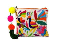 "Imported by Boutique Mexico, the multicolor Otomi Pouch comes from Hildago in central Mexico. These exclusive pouches are hand embroidered from free form drawings, an ancestral craft perfected by the Otomi people. The embroidery for each bag takes over 8 hours to complete. Each Otomi Pouch design is a unique drawing, with each bag being unique and one of a kind. Pom pom colors will vary by batch. Current inventory pom poms are bright orange, burgundy and green. Pouch height is 8"" x ..."