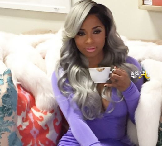 Toya Wright Celebrity Grey Hair Hairstyle Wavy Curly Side Parting Purple Bodycon Dress Pretty Swag Beautiful Black Women