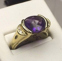 9ct yellow Gold 3.75ct Amethyst & Diamond ring, checkerboard cut, hallmark 375, 4.7grams, valuation $990  http://www.lloydsonline.com.au/LotDetails.aspx?ItemID=332605  #jewellery #auction #pawn #gold #quality #luxury #diamonds #rings # #watches #art #collectibles #goldjewellery #luxury #value #auctionhouse #pawnbank #lloydsonline #online #estatejewellery #vintage
