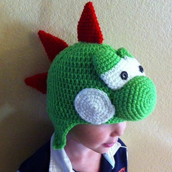 Crochet Yoshi Hat Sizes baby to adult Mario Brothers Hat Green Blue on ...