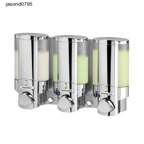 Bath Soap Shampoo Dispenser Chrome Bathroom Shower Easy Aviva Triple Chamber