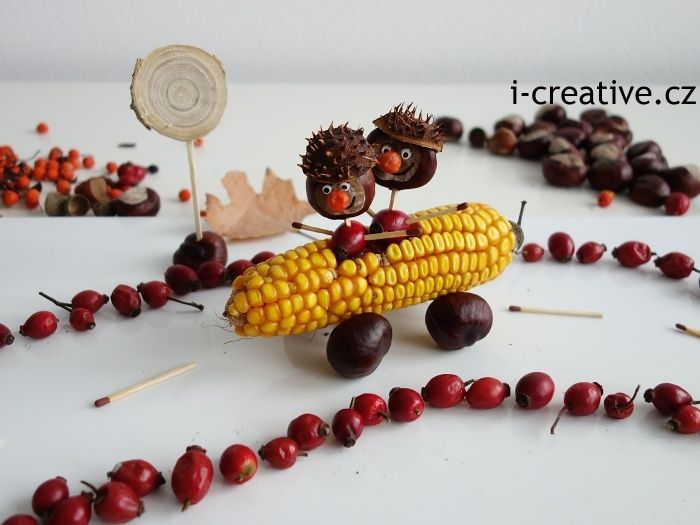 podzimní vyrábění s dětmi - kaštanoví závodníci