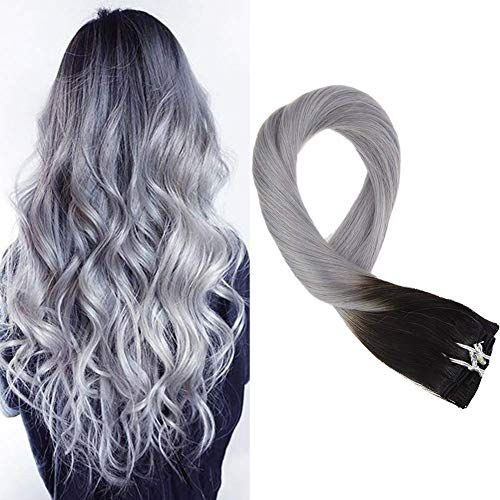 Buy Mosoo 24 Inch Double Weft Remy Clip Extensions Hair Clip Extensions #1B Fading Grey Extensions Clip Human 7pcs 120g Full Head Hair Extensions online