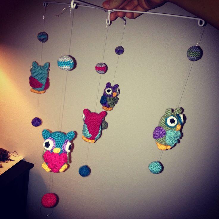 Crocheted owl Mobile.
