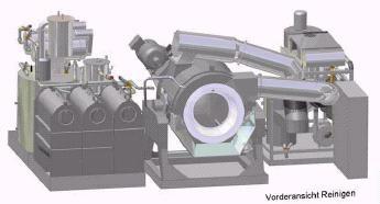 Induline:  Máquinas  de limpieza en seco industriales modulares de 100 Kgs. de capacidad, con carga y descarga por basculación del bombo,  que se adaptan a las necesidades del cliente.