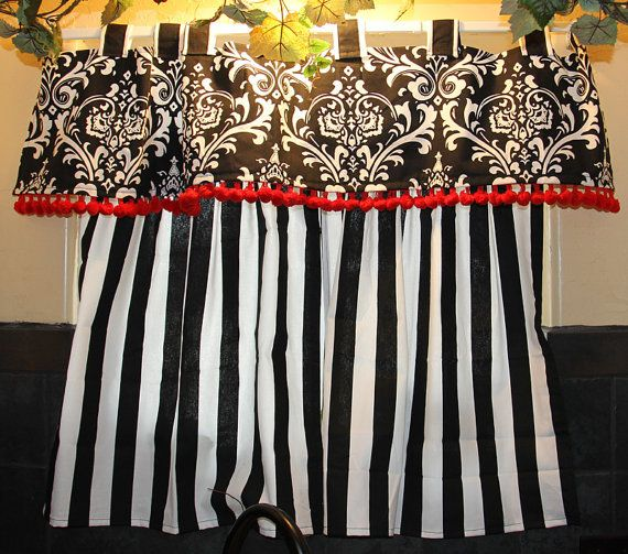 Bold Black And White Kitchen Curtains With Red Details For The