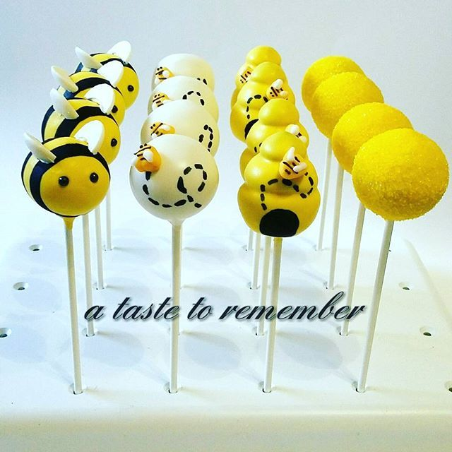 Bumble bee baby shower cake pops
