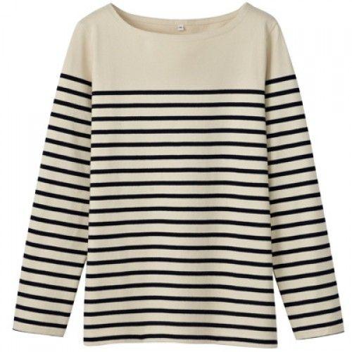 Women Organic Cotton Wide Count Panel Stripe Long Sleeve T-Shirt
