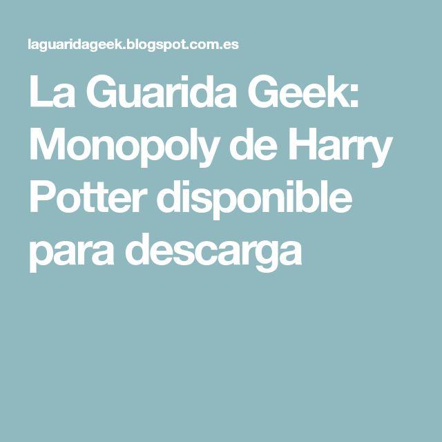 La Guarida Geek: Monopoly de Harry Potter disponible para descarga