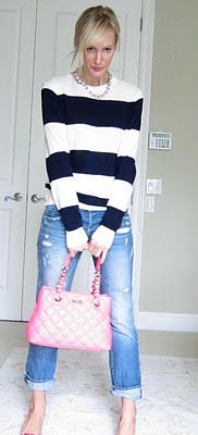 This is what I want to wear daily. jeans and STRIPES! always stripes