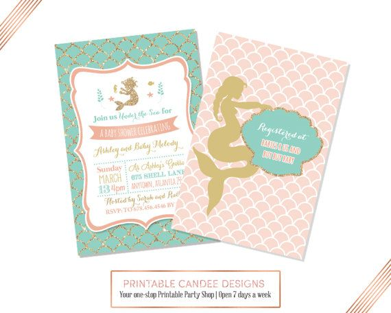 Mermaid Baby Shower Invitation Mermaid Baby Shower Coral