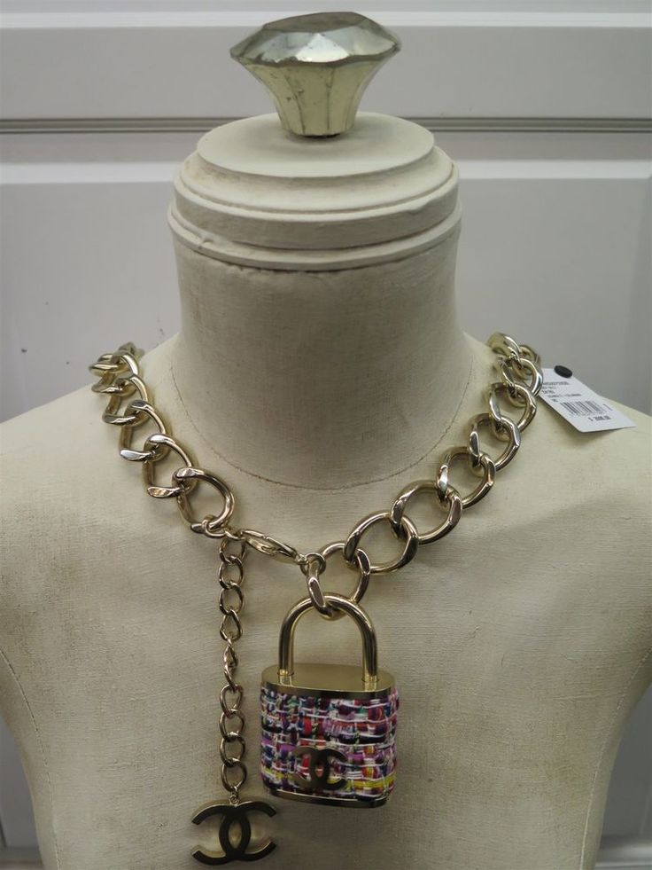 Chanel Gold CC 2014 Celebrity Tweed Padlock Necklace Chain Fancy Belt Runway | eBay