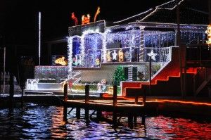 An awesome set of Christmas Lights in Mandurah, from a boat in the canals