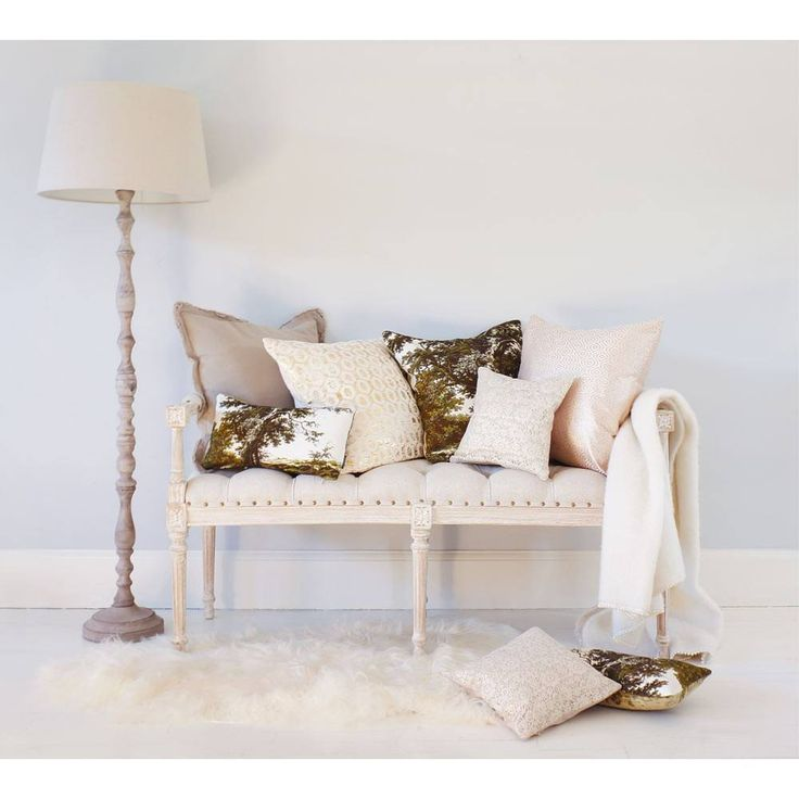 Vignette White-Washed Upholstered Bench | Bedroom Bench