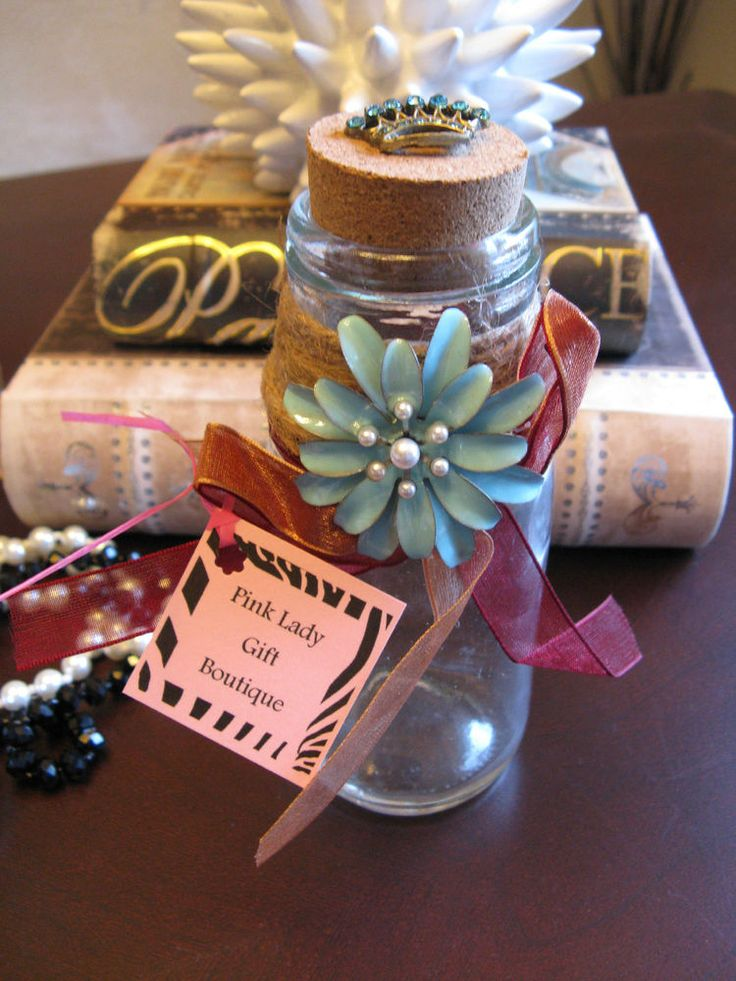 New Shabby French Aqua Flower Altered Art Glass Bottle w/Cork & Jeweled Crown   Collectibles, Decorative Collectibles, Other Decorative Collectibles   eBay!