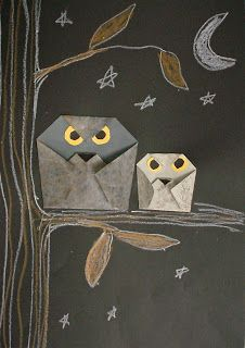 ABC School Art: 2nd grade - Origami owls