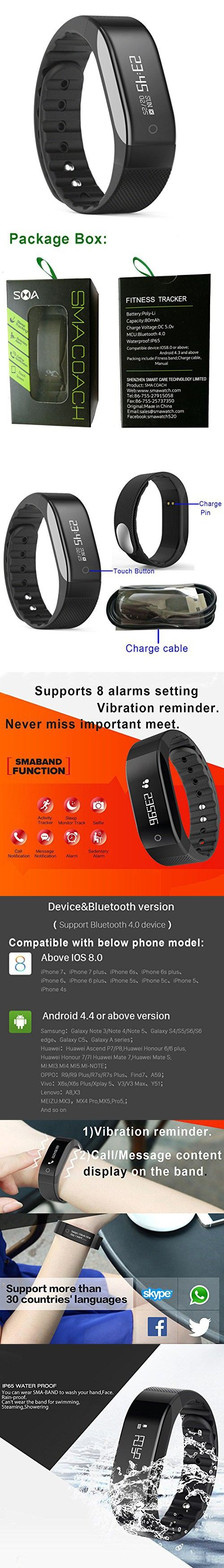 SMA Fitness Tracker Watch,IP65 Waterproof Sports Activity Bracelet Compatible IPhone /Android men/women (Black)