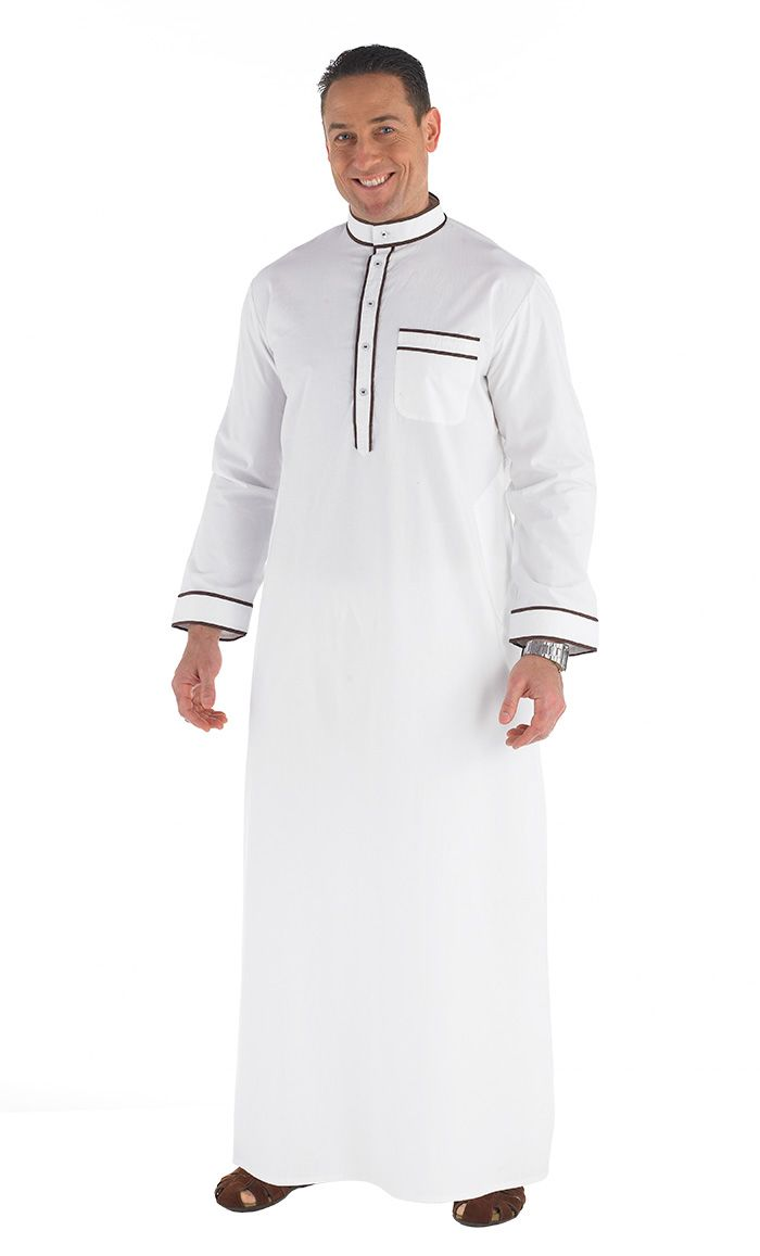 Long Men's Jubba Dish dasha Contrast Brown piping Side pockets Fabric: 100% Cotton.