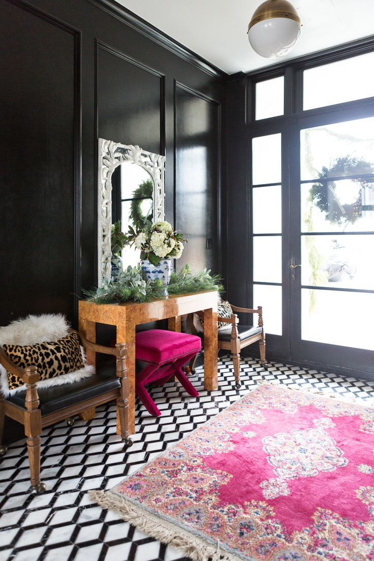 Cc And Mike S Modern Eclectic Christmas Home Tour Black White Marble Floors Entryway Design High Gloss Walls Paneling