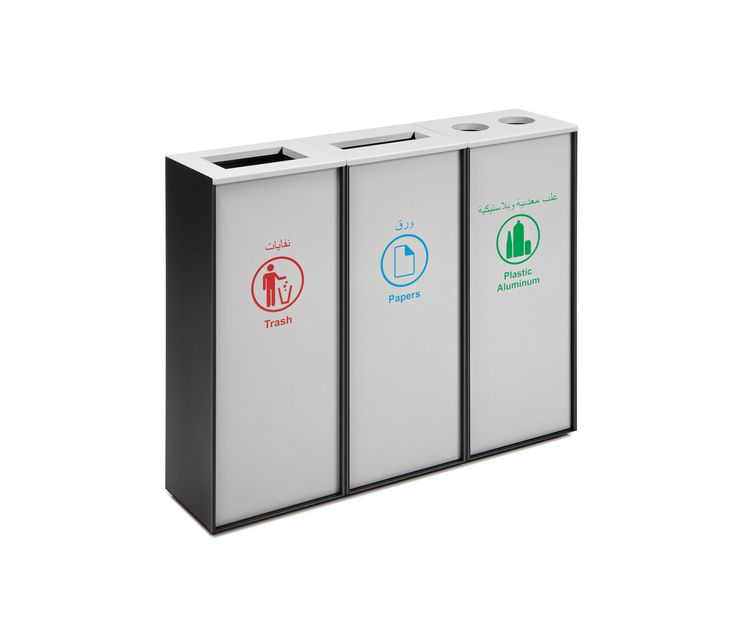 Container for solid waste recycling, made of metal plate and fitted with an injection-molded polycarbonate lid that opens up to provide for two options:..