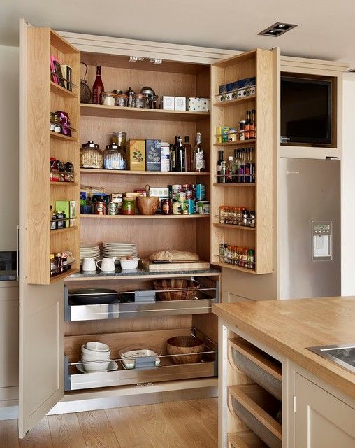 Contemporary Pantry with One-wall, Slate, Slate counters, Wood counters, Flat panel cabinets, Hardwood floors, Kitchen island