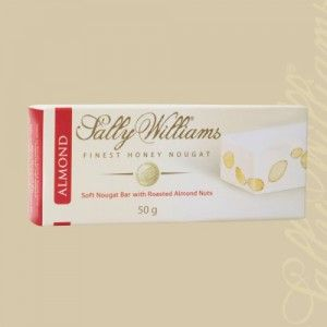 A box of 24 bars of Sally Williams Almond Nougat. Gourmet nougat from a true culinary genius.