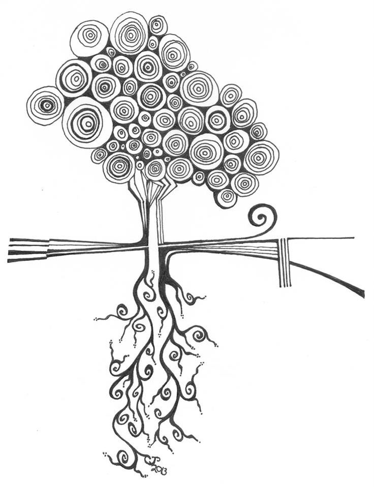 Idea: Doodle a tree to represent the shape of my life right now -- what is visible vs. what is under the surface.  | Doodled Art: Blooming Tree