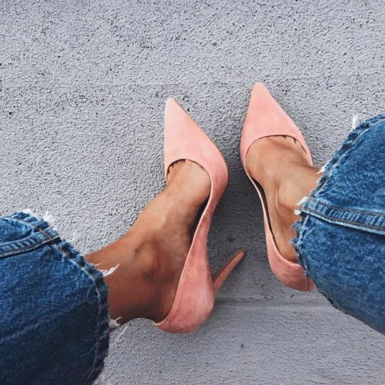 pink suede + denim