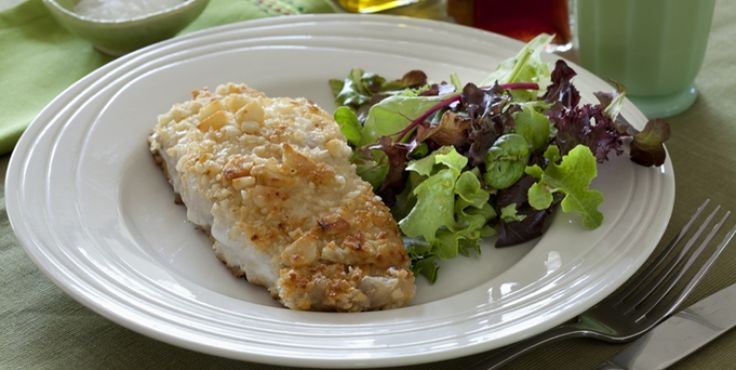 Macadamia crusted fish fillets