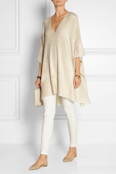 Donna Karan New York | Silk and cashmere-blend chenille poncho | NET-A-PORTER.COM