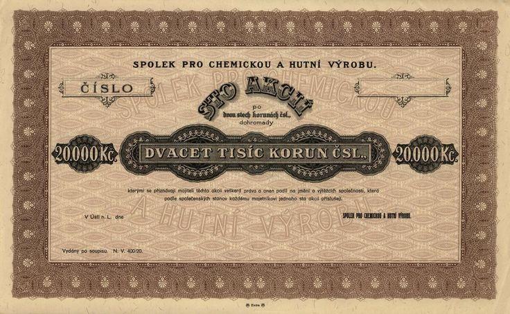 Spolek pro chemickou a hutní výrobu (Verein für chemische und metallurgische Produktion). Akcie na 100x 200 Kč (20 000 Kč). Ústí nad Labem, cca 1920 - 1930.