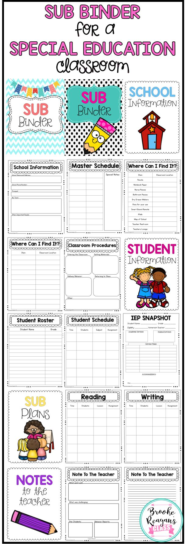 Editable Sub Binder for a special education classroom. Customize this binder to fit your specific classroom and needs. This binder is completely editable! Be super prepared and organized the next time you need a sub!
