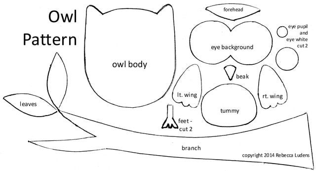 Free Owl Pattern for Scrapbooking and Greeting Card Idea: Free Owl Pattern with Branch and Leaves