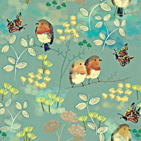 Birds and Butterflies fabric by susan_polston on Spoonflower - custom fabric