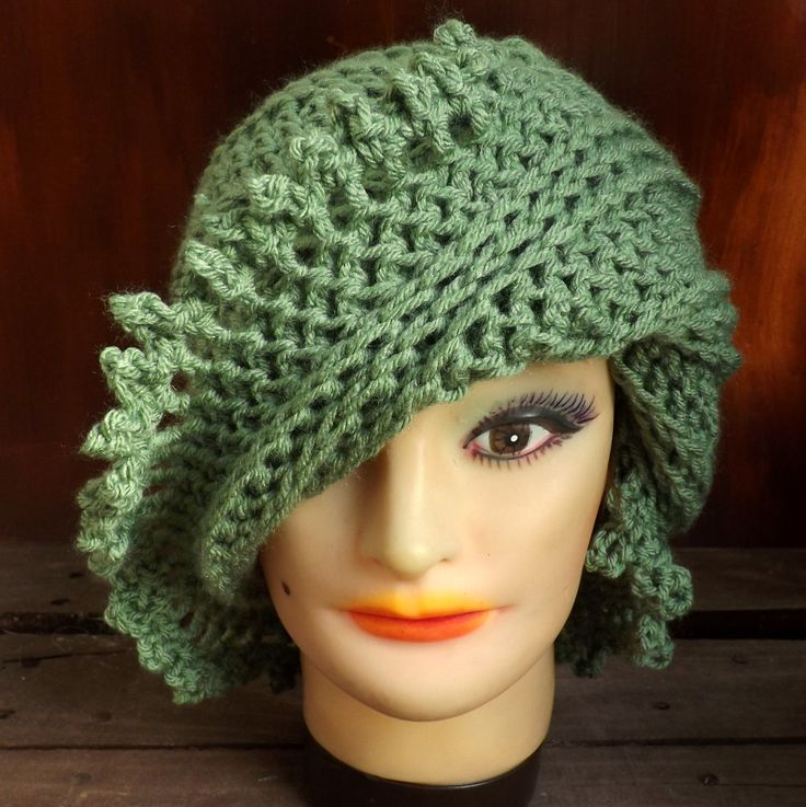 Crochet Hat Womens Hat Steampunk Hat LISA Picot Crochet Beanie Hat Sage Green Hat by strawberrycouture on Etsy 40.00 USD