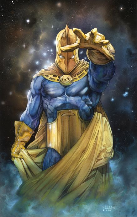 DR.FATE - one of the best character designs ever.  Created in 1940 by Gardiner Fox and Howard Sherman.  Dr. Fate's look has changed very little since.  This image is a painting by the incredible Tom Fleming.