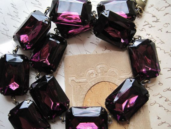 purple Statement Necklace, Regency Amethyst Necklace, art deconecklace, Anna Wintour collet. Decadence.