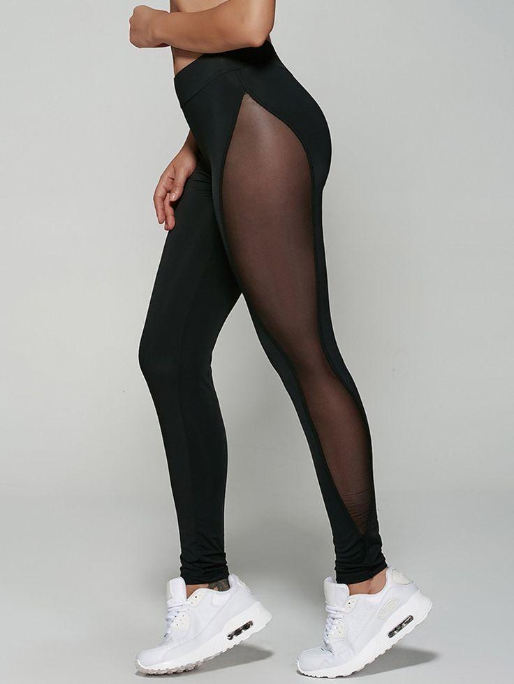 Mesh Spliced See-Through Leggings in Black | Sammydress.com