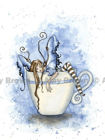 Amy Brown: Fairy Art - The Official Gallery - I Need Coffee  (fitting for me)