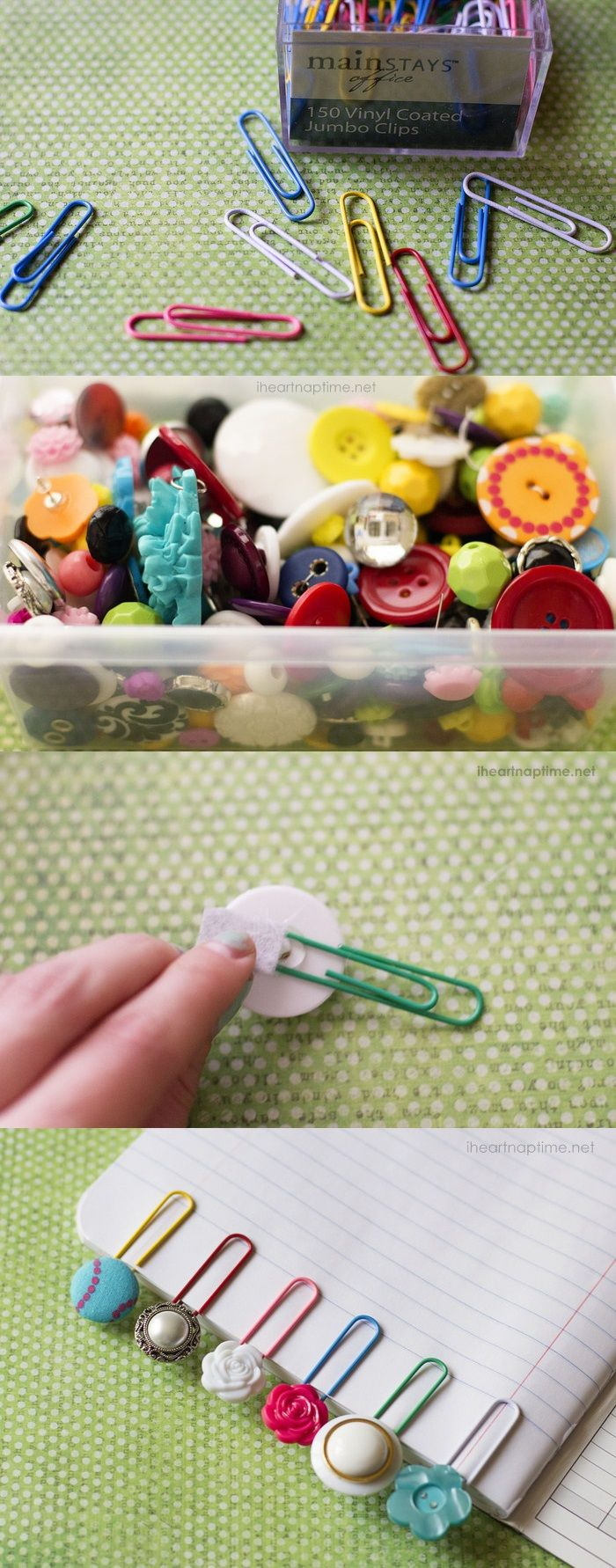 DIY Button Bookmarks How original are these button bookmarks! They look very cute and make it them is the easiest thing in the world.