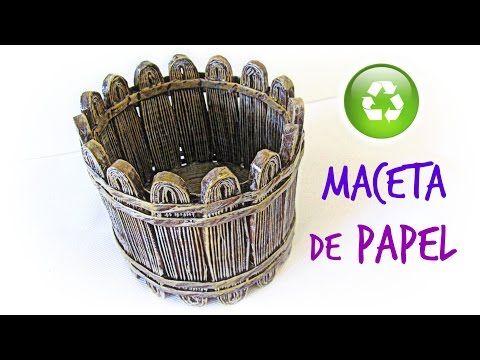 Cómo hacer una maceta de papel. How to make a paper garden pot. - YouTube