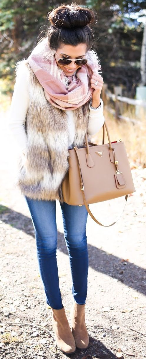 Faux Fur Vest Fall Street Style Inspo by The Sweetest Thing: