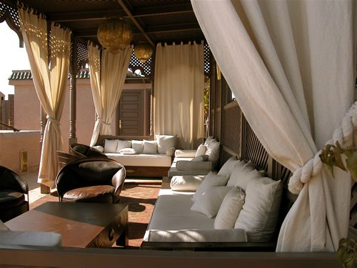 Soothing Rooftop Lounge at Riad Noir d'Ivoire in Marrakech, Morocco